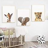 3 Láminas Animales Cuadros Jirafa Elefante León Poster Dormitorio Bebe Nórdico Decorativas Pared Infantil Imagen de Niños Regalo Impresiones de Lienzo PTANB001-XL