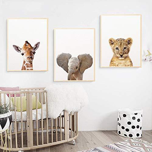 3 Láminas Animales Jirafa Elefante León Cuadro Dormitorio Bebe Nórdico Decorativas Pared Infantil Imagen de Niños Regalo Impresiones de Lienzo PTANB001-M