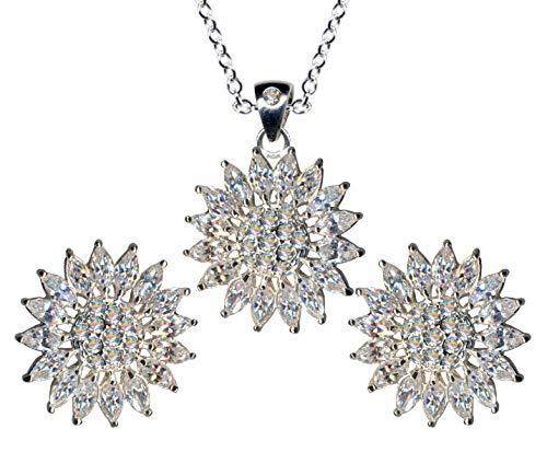 Juego de joyas de plata de ley 925, pendientes + cadena + colgante, diseño de sol, estrella y flor, cadena de plata, colgante, pendientes de circonita, color blanco claro