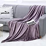 WGCC Soft Fleece Throw Blanket for Couch, 50 x 60 Inch Warm Fluffy Cozy Plaid Velvet Blanket for Home Sofa Bed & Travel (Violet)