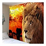 León del Tigre Tapices colgados de la Pared Hojas de Animales Tribales Lobo Caballo Decoración del hogar 8.13 (Color : C, Size : 200cmx150cm(79x59inch))