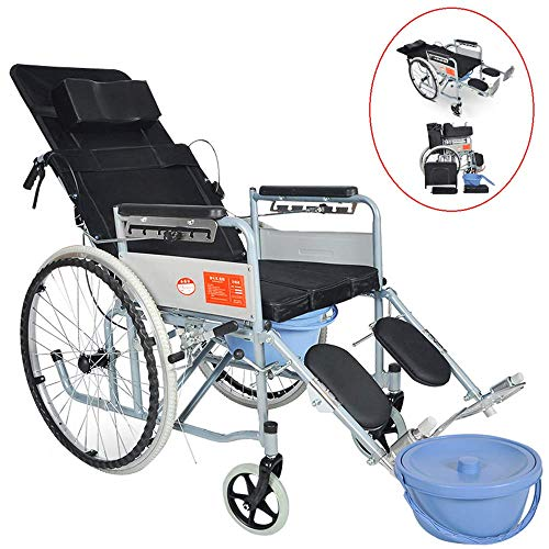 Wheelchair 4 in 1 Folding Elderly Mobile Flat Lay Toilet Seat Waterproof Shower Chair with Pedal And Hand Brake -198Lb