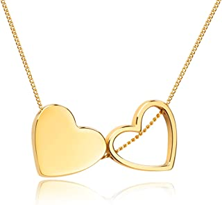 Girafe Double Heart Choker Necklace, Premium Love Necklace Present for Her, 14k Real Gold Plated Floating 2 Hearts Necklace, 14inch with 3inch Extender