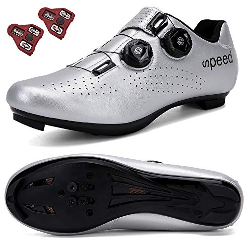 DisPlay Men's Road Bike Riding Shoes Women Indoor Cycling Exercise Shoes Collocation Look Cleats Compatible Cleats SPD/SPD-SL MTB Look Men for Lock Pedal Bike Shoes Silver