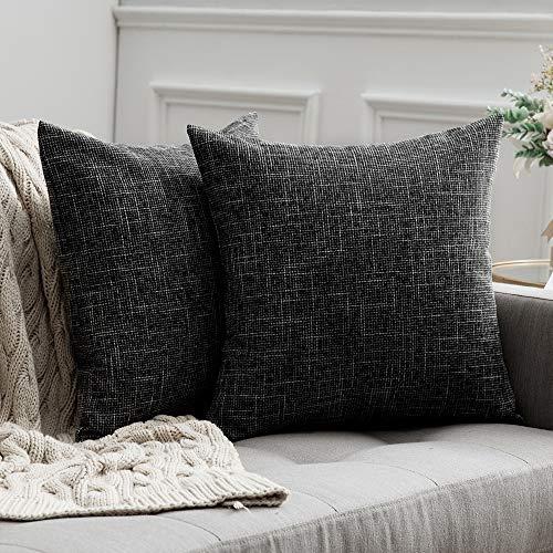 MIULEE 2er Pack Leinenoptik Home Dekorative Kissenbezug Kissenhülle Leinen Kissenbezug Sofakissen für Sofa Schlafzimmer mit Reißverschlüsse 45x45 cm Dunkelgrau