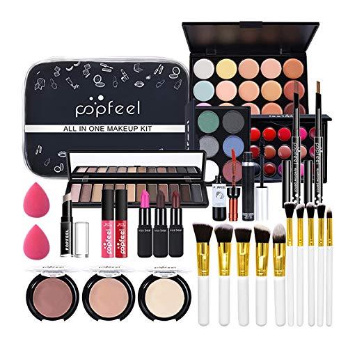 Kit de Maquillaje Profesional Completo, MKNZOME 29 piezas Set de Maquillaje Mujer con Estuches de Maquillaje Portátil Paletas de Sombras de Ojos Fundación barra de labios para Mujeres Niñas
