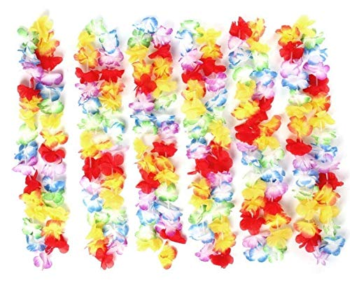 VIROSA 12 Pieces Hawaiian Lei Flower Lei Luau Garland For Tropical Party Hen do Special Occasion Decorations