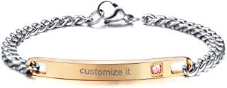 Personalized Gift Custom Engraving His Hers Couples Stainless Steel Nameplate Bar Bracelets Set for Men Women