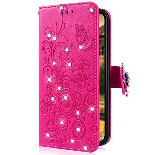 Uposao Kompatibel mit Samsung Galaxy A30 Handytasche Handy Hülle Schmetterling Blumen Bling Glitzer Diamant Muster Klapphülle Flip Case Cover Schutzhülle Brieftasche Leder Tasche,Hot Pink
