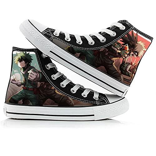 ZYAAO Sneakers Zapatos Mujer Zapatillas Hombre Zapatos Adolescente Zapatillas Lona Zapatos Casuales Unisex DIY 3D Anime Shoes Zapatos Skate My Hero Academia Deku/Todoroki Shoto, 37