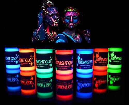 UV Body Paint (7 x 0.75oz) Black Light Paint Black...