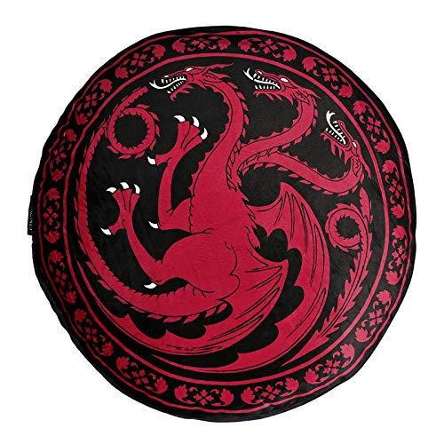 Elbenwald Juego de Tronos cojín del Asiento Targaryen Cresta dragón ø55cm Redonda Grande XXL Adicional Rojo Negro