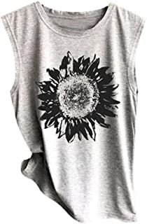 Women Sleeveless Sunflowe Sunflower Print Shirt Casual Loose Tank Top Soft Comfortable Top