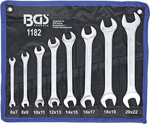 BGS 1182   Juego de llaves fijas dobles   6x7 - 20x22 mm   8 piezas