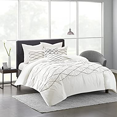 Urban Habitat Bellina White Cotton Duvet Cover Set 7 Piece Queen