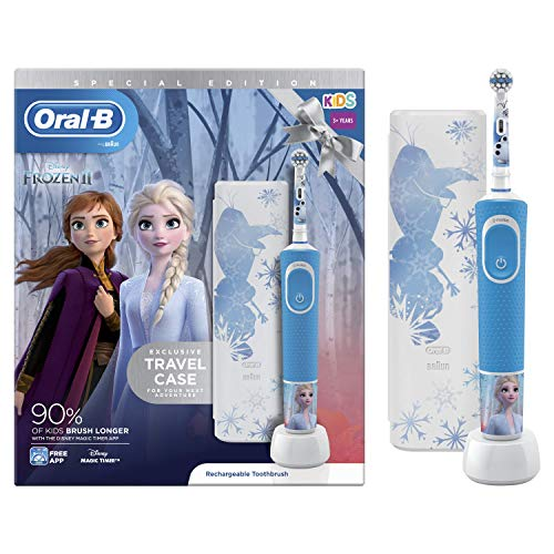 Oral-B Braun Elektrische Zahnbürste für Kinder, wiederaufladbar, 1 Griff und 1 Reiseetui mit Disney Frozen 2, für Kinder ab 3 Jahren