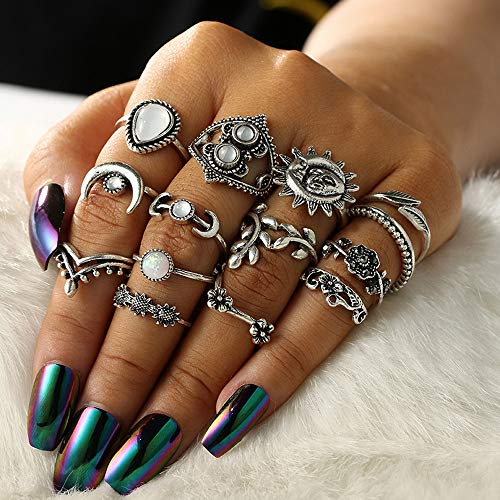 HINK Womens Rings , 14pcs/Set Women Bohemian Vintage Silver Stack Rings Above Knuckle Blue Rings Set , Jewelry & Watches for Christmas Valentine's Day Gifts