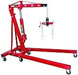 BIG RED T32002 Torin Steel Garage/Shop Crane Engine Hoist with Folding Frame, Hydraulic Long Ram Jack, 4 Position Reinforced Boom, and Engine Leveler, 2 Ton (4,000 lb) Capacity, Red