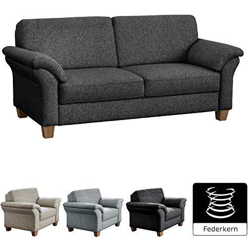 CAVADORE 3-Sitzer Byrum / Große 3er-Couch im Landhausstil mit Federkern / Passend zur edlen Sofagarnitur Byrum / 186 x 87 x 88 / Flachgewebe: Grau