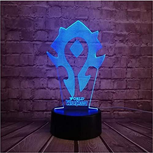 Nuovo gioco di lampade 3D Wow World of Warcraft Segni tribali Tavolo da scrivania a 7 colori Luce notturna a led Bambini Bambini Vacanze Regalo di Natale Illusione