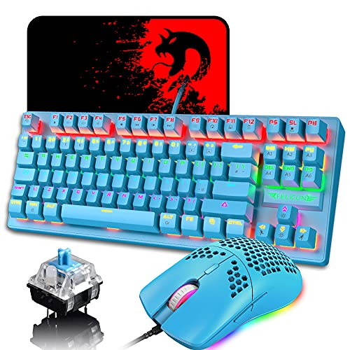 Diseño del Reino Unido Teclado y Mouse mecánicos para Juegos con Cable, 88 Teclas 21 Rainbow Backlit + Wired Backlit Gaming Mouse, 6400 dpi + Mouse Pads (Blue Switch, Blue)
