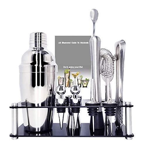 BALLYE 11 Uds 750ml 550ml Premium Shaker Barware Set Barra de Acero Inoxidable Coctelera Set Bartender Kit con botellero