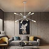 KDG Chandeliers 8-Lights Modern Sputnik Chandeliers Mid Century Pendant Lighting Brushed Nickel Ceiling Light Fixture for Kitchen Dining Room Living Room (Silver)