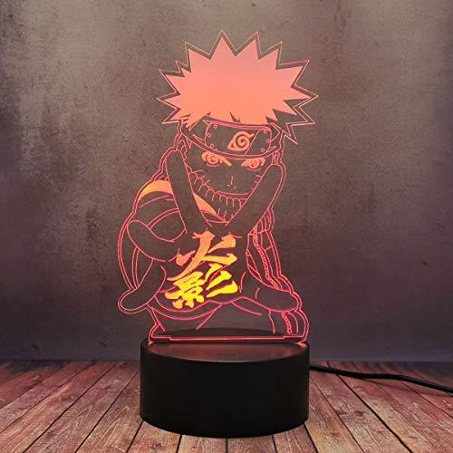 LED Estéreo Anime Uzumki Naruto Figura 3D Lámpara de escritorio para niños Decoración de Dibujos Animados Creativos 16 Color Luz de la Noche Mejor Regalo de Cumpleaños Viejo de cabecera Ilumin