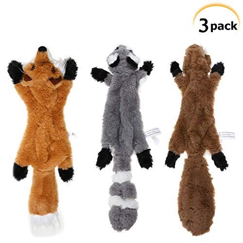 PDTO Hundespielzeug ohne Füllung, quietschendes Kauspielzeug für kleine und mittelgroße Hunde, Motiv: Eichhörnchen, Waschbär und Fuchs, 3 Stück, 46cm