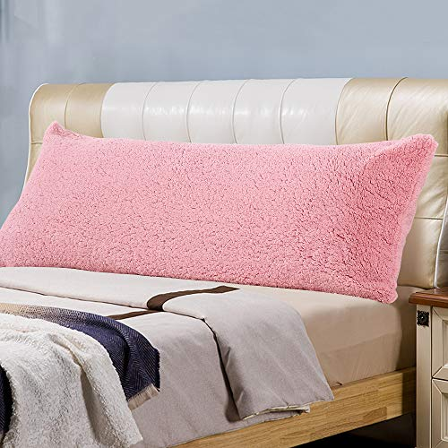Panku Sherpa Body Pillow Cover with Zipper Super Soft Comfy Pillow Case (21'X54', Pink)