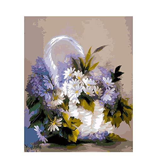 Wzjxzsynl digitaal canvas, olieverfschilderij, om zelf te maken, voor cijfers, mand, wit, paars, bloemen, chrysanthemen, voor kinderen, volwassenen, beginners en woonkamer, decoratie als cadeau voor feestjes