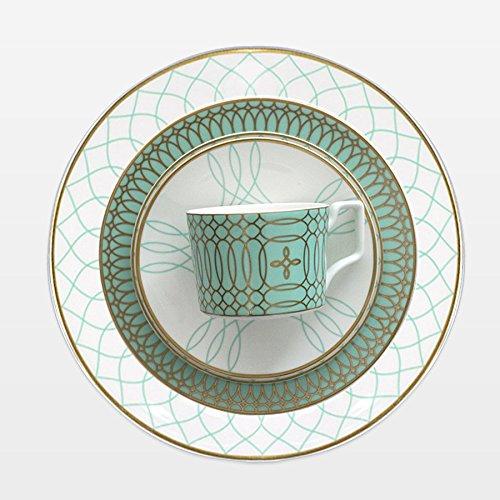 OZYOL GREENY-tallriksunderlägg av porslin med 12 k äkta guldpläterat | Dekor menovetallrik | Grön klassisk serveringstallrik | stor vit tallrik med gulddekoration | kaktallrik | matbord | mattallrik | bordstallrik | bordstjänst | dekortallrik