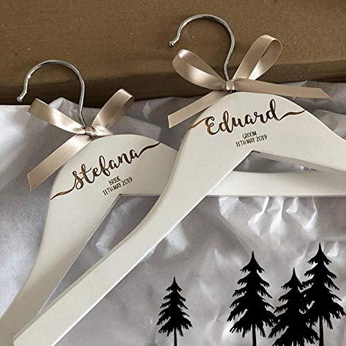 AOM Perchas Personalizadas grabadas para el Banquete de Boda Nombre de Dama de Honor Dama de Honor y Accesorio de Foto de Recuerdo de Papel, Dos Perchas Blancas