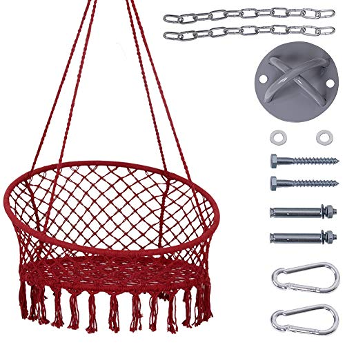 """Lazy Daze Hammocks Handwoven Cotton Rope Hammock Chair Macrame Swing with Wall/Ceiling Mount Set, 300 Pounds Capacity, 47"""" Width, for Indoor, Garden, Patio, Yard, Red"""