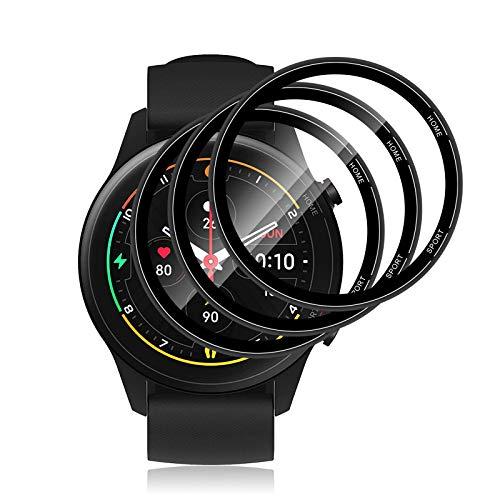 Aerku Protector de Pantalla Compatible con Xiaomi Mi Watch/Mi Watch Color, 3D Curvo Cobertura Completa Protector de Pantalla [Antiarañazos][Alta definición] [Sin Burbujas][3 Unidades]
