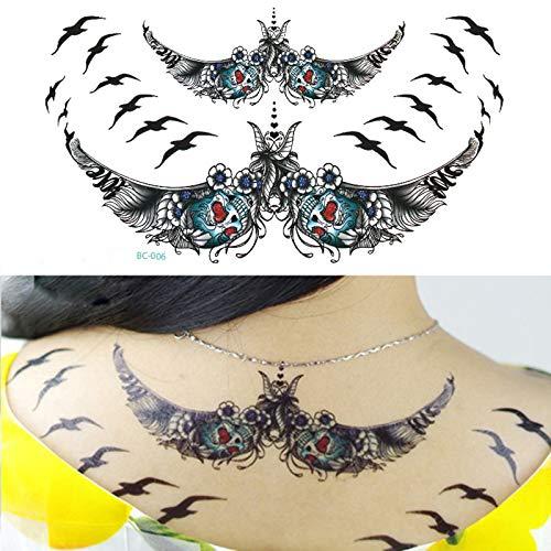 5Pcs Tatuajes Temporales Para Adultos, Pequeño Pájaro Flor De Loto Reloj De Vid Único Negro Pegatinas De Tatuaje Temporal Para Mujeres Chicas Niños Cuerpo Arte Impermeable Tatuajes,Carnaval De Vacacio