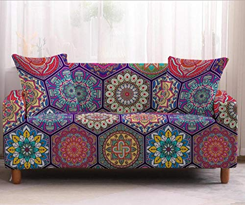 Funda Elástica de Sofá de 4 Plazas Patrón Floral Vintage Funda sofá (Regalar 2 Funda de Cojines) Funda para Sofá Funda de sofá de Sillón Antideslizante Protector Cubierta de Muebles