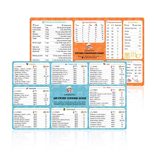 Air Fryer Cooking Time Chart + Kitchen Conversion Chart, Magnetic Sticker, Quick Reference Guide, Conversion Chart for weights, Measures, Temperatures and Volume, Must-Have Air Fryer Accessories
