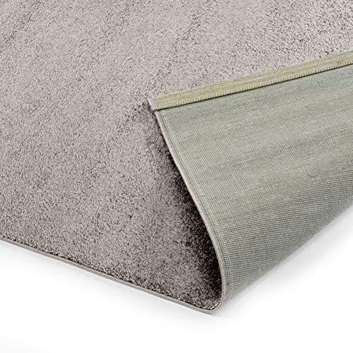 Designer-Teppich Pastell Kollektion   Flauschige Flachflor Teppiche fürs Wohnzimmer, Esszimmer, Schlafzimmer oder Kinderzimmer   Einfarbig, Schadstoffgeprüft (Grau Braun, 120 cm rund)