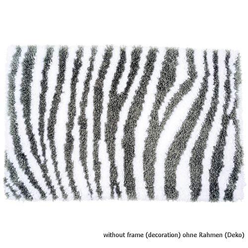 Vervaco PN-0172811 Zebra Look knooppak tapijt, katoen, meerkleurig, ca. 67 x 44 cm.