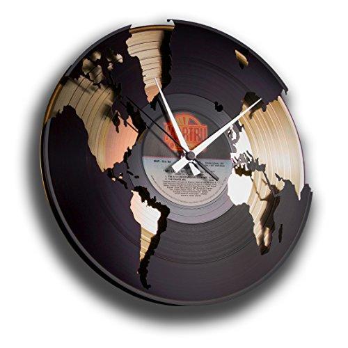 Wanduhr aus Vinyl Schallplattenuhr mit Weltmotiv Upcycling Design Uhr Wand-Deko Vintage-Uhr Retro-Uhr MADE IN ITALY - SCHNELLE LIEFERUNG 24 UHR! DISCOCLOCK - DD014GB - WORLD