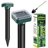BAOBA Mole Repellent, Solar Powered Mole Repeller, 2 Pack Gopher Repellent Ultrasonic for Lawn Garden & Yard, Snake Repellent, Vole Repellent, Groundhog Repeller, Ultrasonic Pest Control for Garden