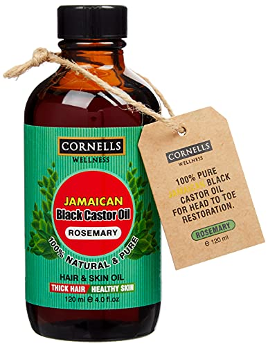 Pure Organic Jamaican Black Castor 120 ml/4.0 oz Cold-Pressed, Free of Hexane and Mineral Oil, for Eyelashes & Eye Brows, Knee and Muscle Pain, Hair Growth & Dry Skin (Rosemary + Olive (Pack of 2))
