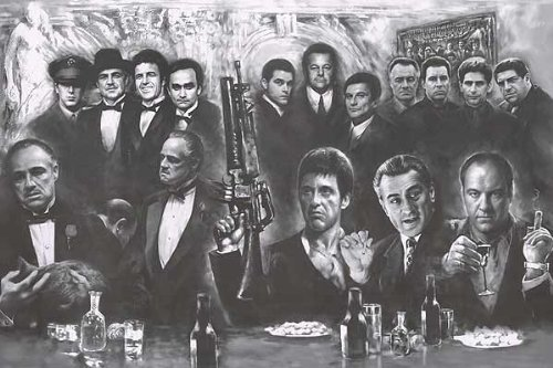 """(39x54"""") Gangsters Collage - Movie Gods Giant Art Poster Print - Drawing - Go..."""