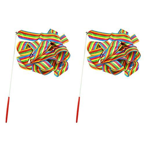 JieGuanG Cinta de baile, 2 unidades de color rítmico de gimnasia para niños Rotación de Baton