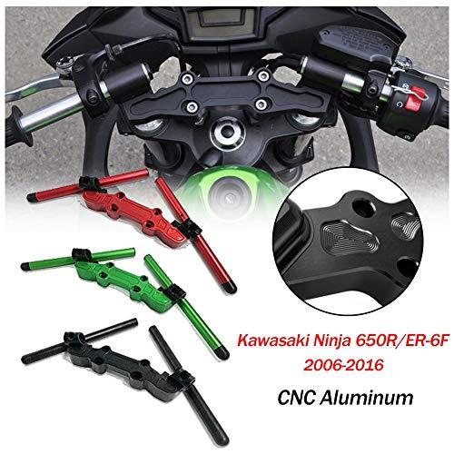 Moto CNC en aluminium guidon réglable guidon Clip sur support de serrage pour Kawasaki Ninja 650R ER-6F ER6F 2006 2007 2008 2009 2010 2011 2012 2013 2014 2015 2016 (Noir)