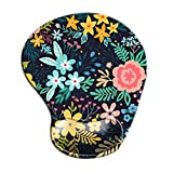 Dooke Ergonomic Mouse Pad with Wrist Support, Cute Mouse Pads with Non-Slip Rubber Base for Home Office Working Studying Easy Typing & Pain Relief Blooming Flowers
