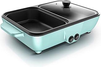 Yongqin Elektrische grill, multifunctioneel, 2-in-1 – Hot Pot multifunctioneel, draagbaar, elektrisch fornuis, anti-aanbak...