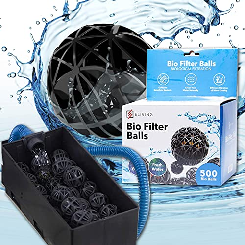 ELIVING Bio Balls Filter Media - Includes 5 Mesh Bio Media Bags & .6 Inch Bio Ball (500 Ct) for Aquarium, Fish Tank, Pond Filter Media - Ideal for Koi Pond Canister Filter, Freshwater & Saltwater Sump