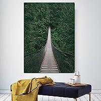 """リビングルームの家の装飾のための現代のHD北欧のキャンバス絵画アート壁の写真緑の植物の写真ポスターとプリント23.6""""x31.4""""(60x80cm)フレームレス"""